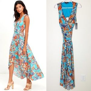 Lulu's Something To Believe In Floral Wrap Dress S